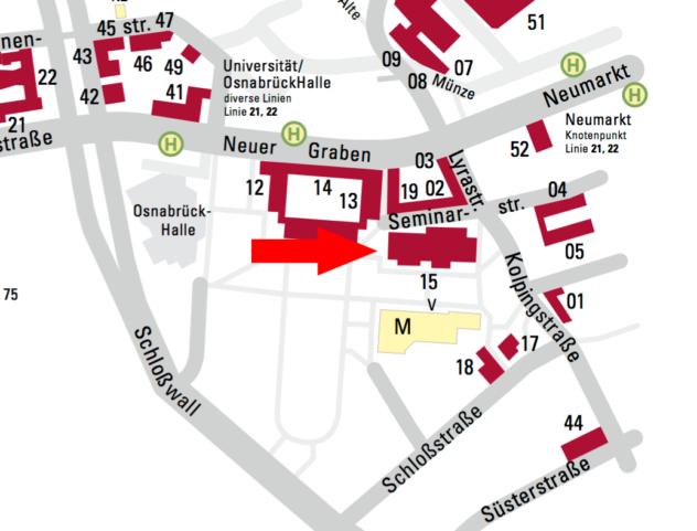 Hier ist nochmal der genaue Lageplan vom Gebäude 15 von der Universität Osnabrück